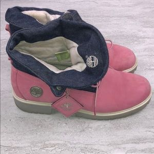 TIMBERLAND Denim And Pink Boots Size 10